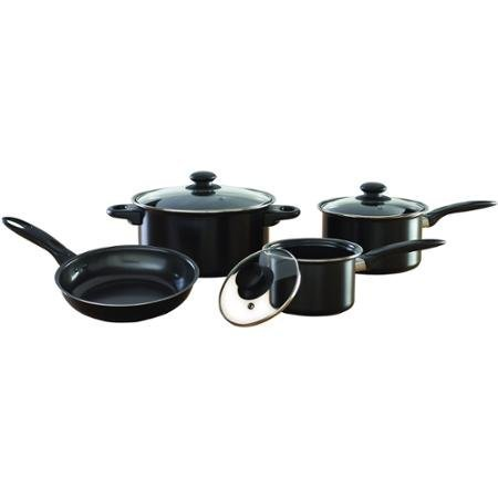 Mainstays 7-Piece Nonstick Cookware Set, Black