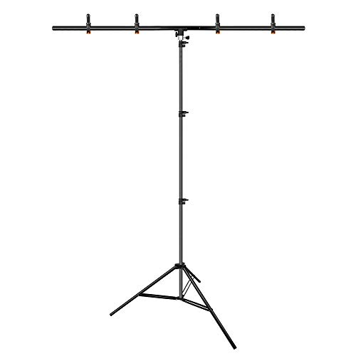 Emart T-Shape Portable Background Backdrop Support Stand Kit 5ft Wide 8.5ft Tall Adjustable Photo Backdrop Stand with 4 Spring Clamps (Background Support Stand)
