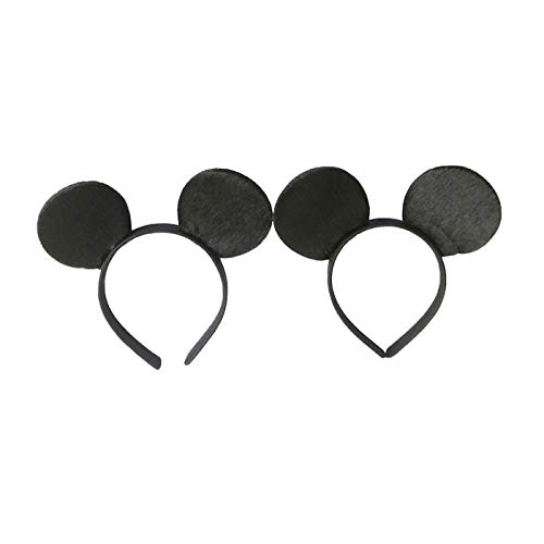 CHuangQi Mouse Ears Headband(Set of 2), Solid Black and Color Optional Bow for Boy & Girl Birthday Party, Party Favors (2 Solid Black)