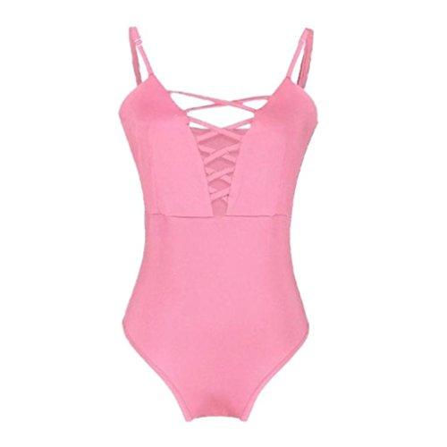 Quartly Women Sexy Solid One Piece Monokini Swimsuit Padded Swimwear Jumpsuit Beachwear (M, Pink)