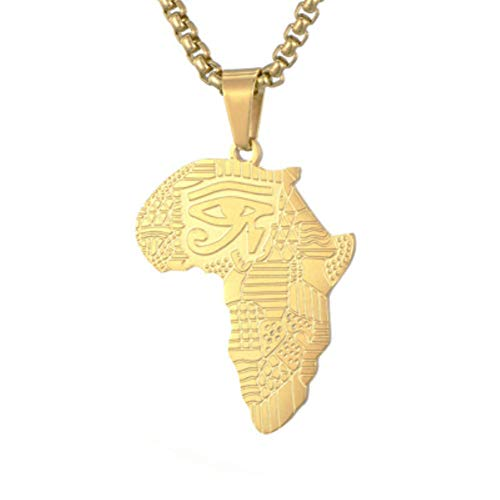 - SENTERIA African Map Pendant Necklace 26inch Long Chain Titanium Stainless Steel 18k Gold Necklace for Men Real Gold Pendant & Chain Hip Hop Jewelry (styel 3)