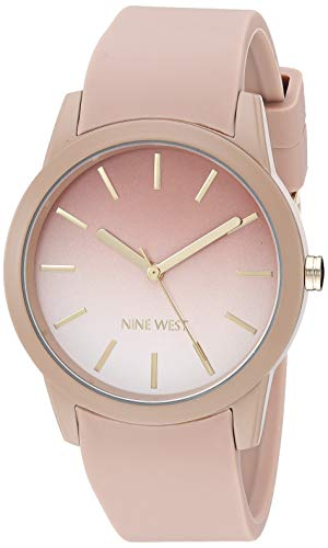 Nine West Women's NW/2270OMTN Tan Silicone Strap Watch]()
