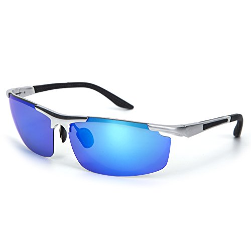 YJMILL New Aluminum magnesium Polarized Sunglasses Retro Pilots Riding Fishing Golf Travel Sports Sunglasses Men 8530 (Silver-blue,