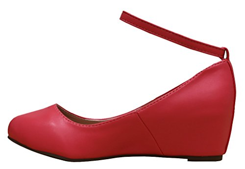 Ankle Strappy Wrapped Buckle Toe Closed Wedge Round Womens Cambridge Coral Select Pu RqwEA4ap