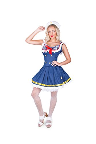 Karnival Women's Sassy Sailor Costume Set - Perfect for Halloween, Costume Party Accessory. Trick or Treating (S)