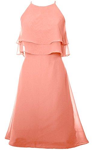MACloth Women Tiered Chiffon Short Bridesmaid Dress Halter Cocktail Party Dress Blush Pink