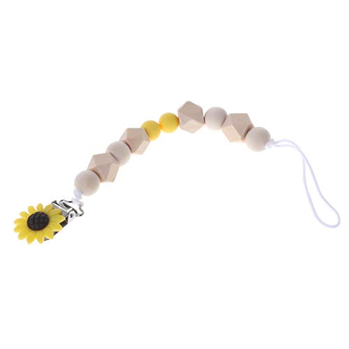 puhoon Baby Pacifier Chain, Wood Silicone Beads Soother Clip, Sunflower Pendant Feeding Toys, Newborn Supplies (G) from puhoon