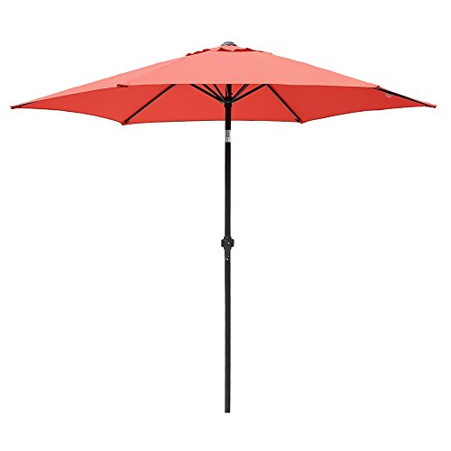 Le Papillon 8 Feet Market Patio Umbrella Outdoor Umbrella Aluminum with Crank and Push Bottom Tilt, Brick Red by Le Papillon