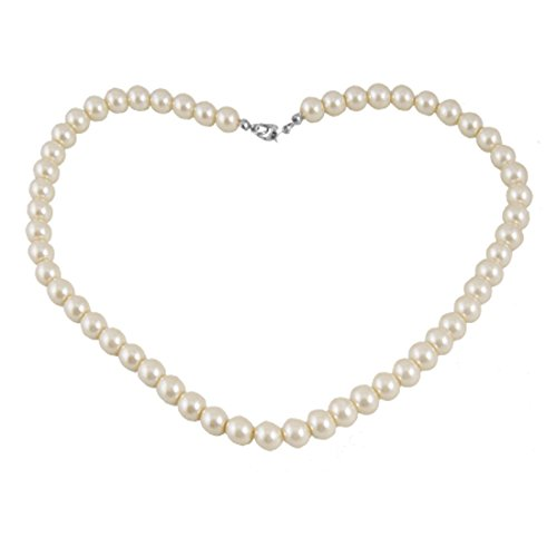 Dcolor Plastic Screw Clasp White Single Strand Faux Pearl Necklace]()