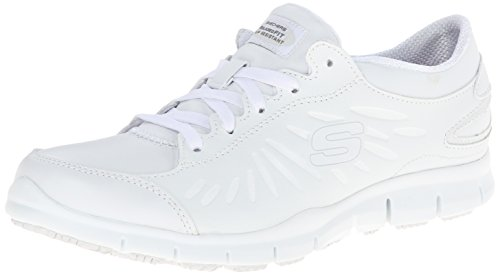 Skechers  Women's Eldred Dewy Shoe, White, 8.5 M US (Best Nursing Shoes Skechers)