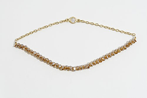 Silver Vermeil Bracelet With Brown Crystals and Cubic Zircon ()