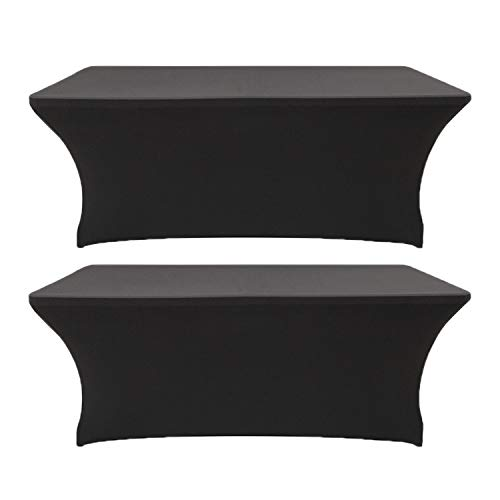 2 Pack 5ft Rectangle Black Cocktail Tablecloth with Stretch Spandex Fitted Table Cover for Bar Table Wedding Table Cocktail Table Massage Table Kitchen - Kitchen Fitted