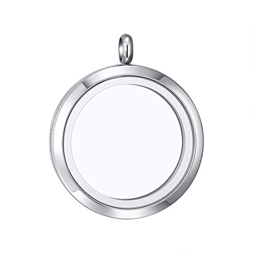 Mesinya Living Memory Floating Locket 316L S.Steel Toughened Glass Locket Necklace W/Chain (Large 34 mm-Screw Closure)