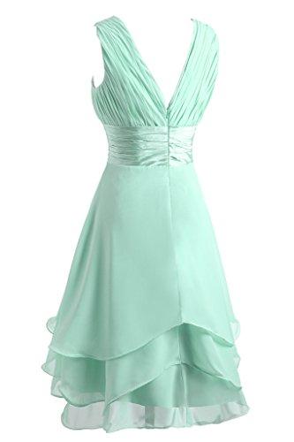 Damen Brautbegleiterinkleid Beliebt Chiffon Ausschnitt V amp;Charmeuse Ivydressing Abendkleid Festkleid Sage Gestuft Traeger dx4fq5wU
