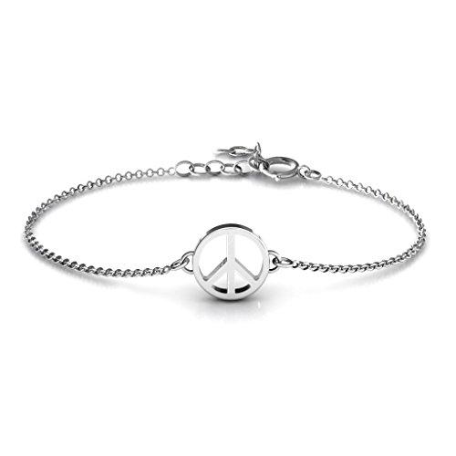 14K White Gold Classic Peace Symbol Bracelet by JEWLR by TSD