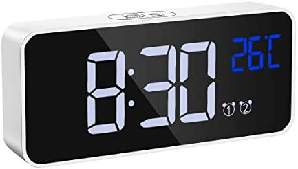 Upgraded Brifit Digital Alarm Clock, Mirror HD Led Display, Sound Control, Dual Alarms, Snooze, Temperature, Volume Brightness Adjustable, Rechargeable Backup Battery, Suitable for Bedrooms and Kids
