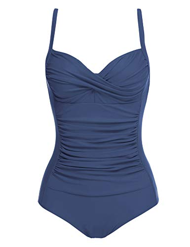 Ekouaer One Piece Swimwear Women's Tummy Control Swimsit Bathing Suit(Navy,X-Small)