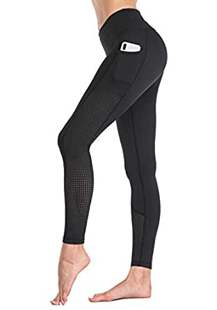 RAYPOSE Womens Yoga Running Leggings Workout Mesh Pants for Women High Waisted Sports Legging with Pockets Black-XS