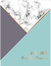 2020-2021 Monthly Planner: Marble Cover | 2 Year Calendar 2020-2021 Monthly | 24 Months Agenda Planner wtth Holiday | Academic Schedule Organizer Logbook and Journal Notebook | Appointment Notebook