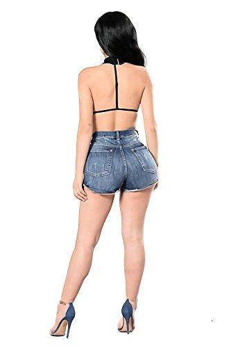 corti Pantaloni corti pantaloncini Blue da spiaggia jeans con caldi regolazione 6002 Dark Pantaloni tummy Pantaloni nappa a DoreKim Denim Pantaloni g5xZqgd