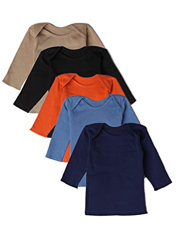 Best of Chums Baby Infant Long Sleeve Lap Shoulder Tee Multi Color Pack of 5 100% Cotton