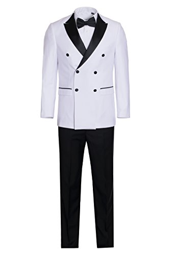 King Formal Wear Men's Premium Double Breasted Slim Fit Tuxedo-Many Colors (White and Black, 52 ()