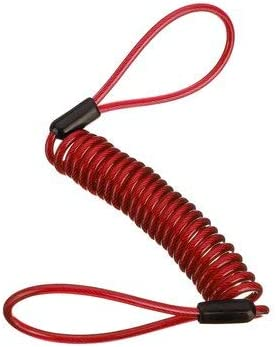 Queenwind アラームディスクロックセキュリティスプリングリマインダーケーブルオートバイバイクスクーター-赤