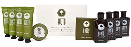 Roots Aromatherapy Amenity Kit (Eucalyptus Tea fragrance) for Travel, Hotels, Motels, Lodging, and Bed and Breakfast (BOX)