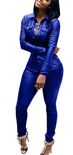 Women 2 Piece Suit Faux Leather Tops + Pants Tracksuits Sweatsuits Jogger Set Outfits Royal Blue XXXL