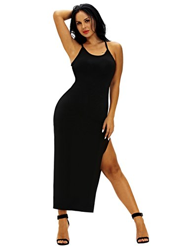 Ninimour Womens Spaghetti Straps Back Ribbed Double Side Slit Maxi Dress Black S