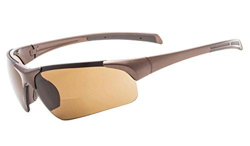 Eyekepper TR90 Unbreakable Sports Half-Rimless Bifocal Sunglasses Baseball Running Fishing Driving Golf Softball Hiking Pearly Brown Frame Brown Lens +1.75 73 Brown Frame Sunglasses