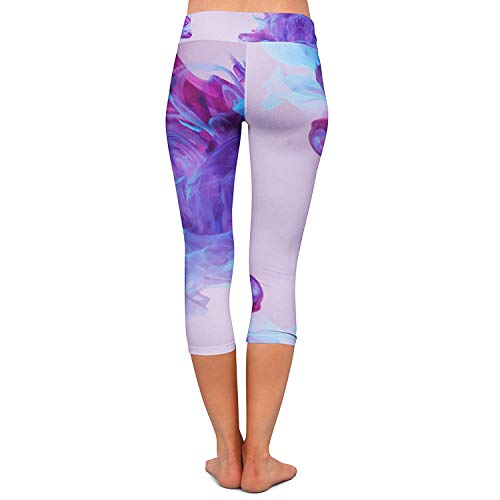 Fitness Leggings Viola Giovane Donna Pantaloni Stretch Capri Waters Da Jogging Sport Yoga Moda Colour Inky Allenamento f1qzPIqx