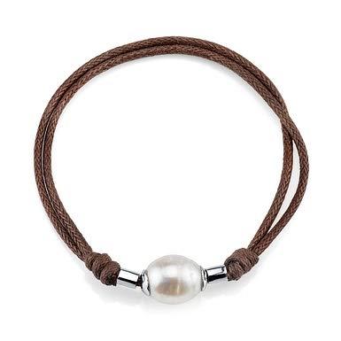 11-12mm Genuine White Freshwater Cultured Pearl & Rope Bracelet for - Bracelet Mm Pearl 12