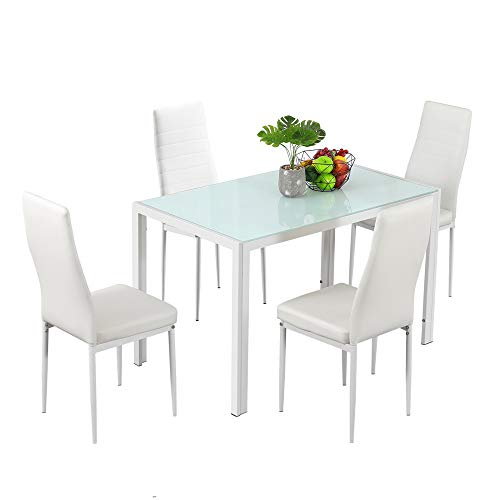Bonnlo Dining Table with Chairs Dining Set for 4 Kitchen Dining Room Table and 4 Chairs White Glass Dining Table with PU Leather Chairs,White