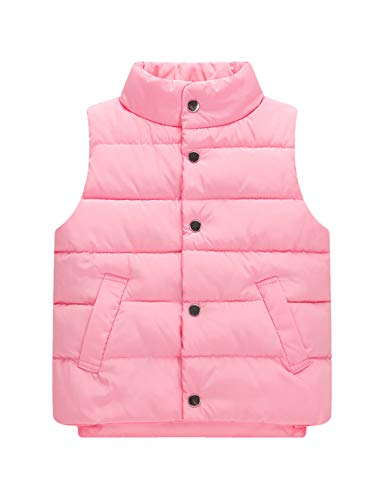 Sleeveless Pink Casual Children Down Autumn Wear Vests Button Outdoor for Winter Jacket Coat Vest Overcoat BESBOMIG Kids pWq0aB58w