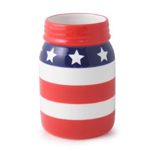 Patriotic Red White and Blue American Flag Ceramic Mason Jar Vase, 6 Inch ()