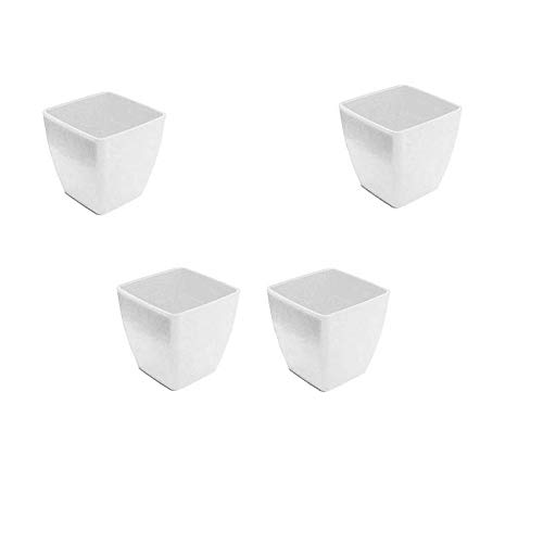 Antier 2-Inch Plastic Square Planter Pots for Gardening Plantation (Set of 4pcs) in White Color for Indoor, Home, Office and Outdoor use, Decorative Gift Item Flower Pots, Durable Product