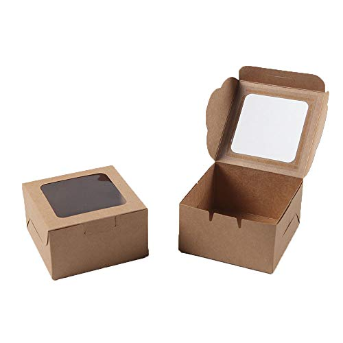 Kraft Paper Bakery Boxes - 25-Pack Single Pastry Box 4-Inch, Packaging with Clear Display Window, Donut, Mini Cake, Pie Slice, Dessert Disposable Take-Out Container, Brown, 4 x 2.3 x 4 Inches