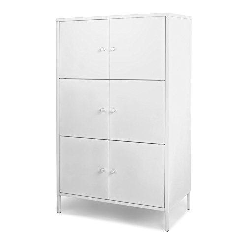 (IKAYAA Tall Office Metal Storage Cabinet 6 Door Free Standing Floor Cabinet Office Locker Bedroom Bathroom Living Room Furniture )