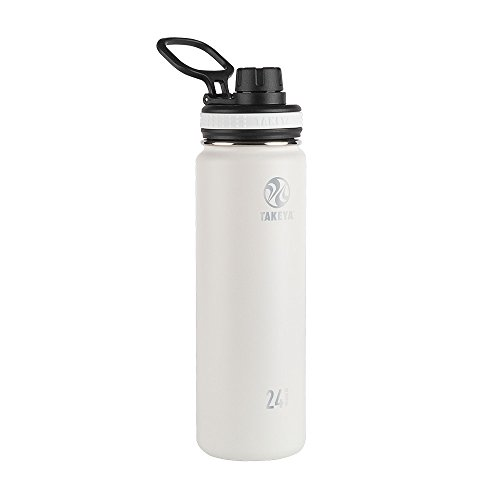 Takeya 50042 Originals Vacuum-Insulated Stainless-Steel Water Bottle, 24oz, White, 24 oz,