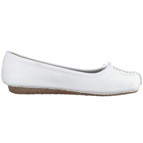 Kvinners Hvit Clarks hvit Fregner Flate Ballerina 1dpRTwq