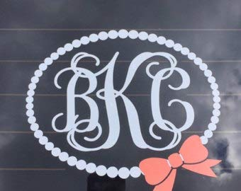 - Pearl Monogram Decal Car Decal Car Decal for Women Preppy Pearl Personalized Decal Car Decal Southern Prep Vine Monogram Decal with Bow