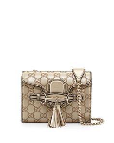 Gucci Emily Guccissima Mini Shoulder Bag Golden Beige Metallic Leather Bag Handbag New