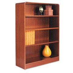 Radius Corner Bookcase, Finished Back, Wood Veneer, 4-Shelf, 36x12x48 Finish: (Alera Corner Bookcase Cabinet)