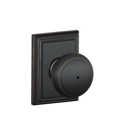 - Schlage F40AND716ADD Addison Collection Andover Privacy Knob, Aged Bronze - F40 AND 716 ADD