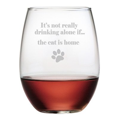 The Cat is Home 19 Oz. Stemless Wine Glass (Set of 4) -