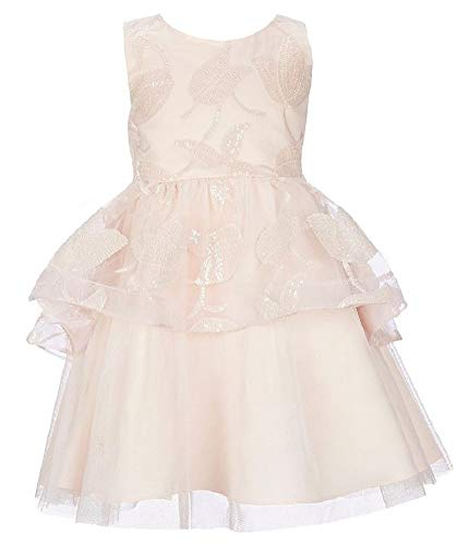 Rare Editions Girls 4-6X Pale Pink Sequin Embroidered Tulips Tulle Dress ()