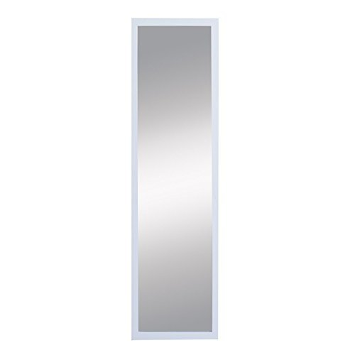 SL Decor Door Mirror 14 x 48- Inch,Over-the-Door Hardware Included.White Wall Mounted Dressing - Mirror Sl