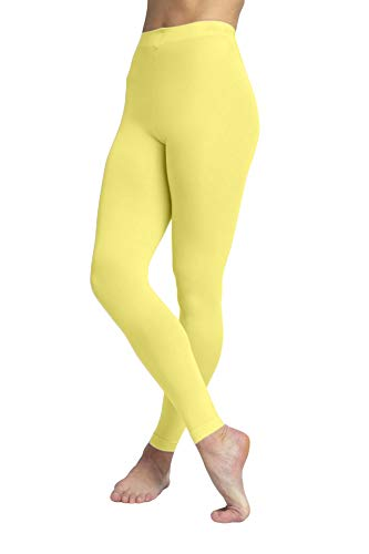 EMEM Apparel Women's Ladies Solid Colored Seamless Opaque Dance Ballet Costume Full Length Microfiber Footless Tights Leggings Stockings Light Yellow D]()