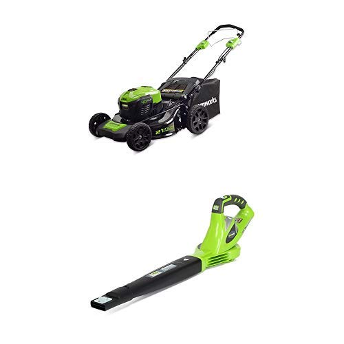 Greenworks 21-Inch 40V Self-Propelled Cordless Lawn Mower with 40V 150 MPH Variable Speed Cordless Blower Battery Not Included 24282 21' Self Propelled Mower